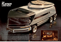 """Detroit, Money, and Phone: THE  PLAYBOY  LAND YACHT  you're looking at the great american dream machine-a wonder home on wheels that even drives itself  THE OLD CHUCK BERRY SONG No Money Down told about a fantasy Cadillac with a bed in the back, phone. TV, shortAt rightis the brain box of our motor home  wave radio and other optional extras; but the machine Chuck sang about couldn't touch what's pictured here and  on the following pages. The land yacht we commissioned Detroit designer Syd Mead to create is a six-wheel wonder  vehicle that combines many of today's mechanical innovations with some space-age technology that you can expect  to be incorporated into tomorrow's assembly-line mobile homes. Not only does it contain almost all the amen.  ities you would ordinarily leave behind when embarking on an extended trip, or just out for a day's cruise, it  can also drive itsell-via électronic sensors-while you and a companion relax in the yacht's luxurious from  It includes rodar-activated sensors for  remote-control cruising, trip lapes with  recorded tips on throughway exits, etc.,  a phone hookup with the rest of the vehicle,  dials for adjusting the tire pressure and  two zoom-lensed TV cameras, with infrared  flters, to monitor the road fore and aft.  XR <p><a href=""""http://scifiseries.tumblr.com/post/154079503069/playboy-land-yacht-concept-1975-syd-mead"""" class=""""tumblr_blog"""">scifiseries</a>:</p>  <blockquote><p>Playboy """"Land Yacht"""" concept, 1975, Syd Mead</p></blockquote>"""