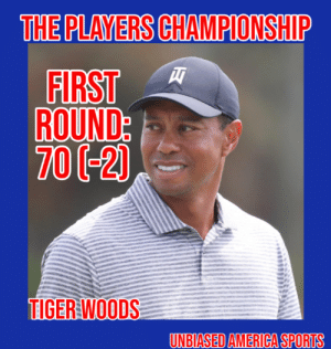 America, Memes, and Sports: THE PLAYERS CHAMPIONSHIP  FIRST  ROUND  700-2)  UNBIASED AMERICA SPORTS Tiger Woods Shoots a 70 (-2) at the Players Championship By Michael Lee  Tiger Woods had an up and down day, finishing with a score of 70 (-2).  The score is 5 behind the leaders, but puts him solidly in contention with 3 rounds to play.   Tiger had 6 birdies on the day (7, 10, 12, 13, 16, 17), but also 4 bogies (3, 11, 14, 18).   Woods will tee off at 8:32 AM in tomorrow's 2nd round.