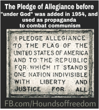 The Pledge Of Allegiance Before Under God Was Added In 1954 And