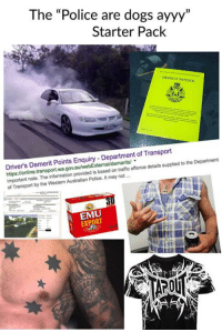 "Memes, 🤖, and Transporter: The ""Police are dogs ayyy""  Starter Pack  DE  FECT NOTICE  Driver's Demerit Points Enquiry Department of Transport  Department  note. The information provided is based traffic offence details supplied to the on of Transport by the Western Australian Police. It may not  EXPORT"