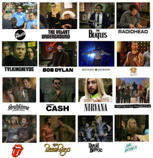 Nirvana, Police, and Queen: THE  POLICE  THE VELUET  UNDERGROUND  ВЕЛILES  THE  RADIOHEAD  TVLKINGHEVDS  BOB DYLAN  MICHAEL WJACKSON  QUEEN  Sublime  JOHNNY  CASH  Zong leachCa  NIRVANA  rage against the machine  David  ΒΟMe  MAC  DEM ARCO  THHH Always sunny bands
