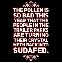 Bad, Memes, and Back: THE POLLEN IS  SO BAD THIS  YEAR THAT THE  PEOPLE IN THE  TRAILER PARKS  ARE TURNING  THEIR CRYSTAL  METH BACK INTO  SUDAFED. :) ME