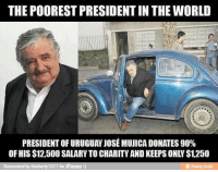 "World, Strong, and Mundo: THE POOREST PRESIDENT IN THE WORLD  PRESIDENT OF URUGUAY JOSE MUJICA DONATES 90%  OF HIS $12,500 SALARY TO CHARITY AND KEEPS ONLY $1,250 <h2><strong>""El presidente más pobre del mundo:</strong></h2> <h2><strong>El presidente de Uruguay, José Mujica dona el 90% des sus 12500 dólares de salario a caridad y sólo se queda 1250.""</strong></h2> <p><strong>Como en España!<br/></strong></p>"