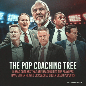Head, Pop, and Tree: THE POP COACHING TREE  5 HEAD COACHES THAT ARE HEADING INTO THE PLAYOFFS  HAVE EITHER PLAYED OR COACHED UNDER GREGG POPOVICH Only proves further how great Gregg Popovich is as a coach. 🙌👏