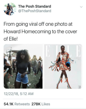 She ended up on the cover of a fucking magazine by GallowBoob MORE MEMES: The Posh Standard  @ThePoshStandard  From going viral off one photo at  Howard Homecoming to the cover  of Elle!  12/22/18, 5:12 AM  54.1K Retweets 278K Likes She ended up on the cover of a fucking magazine by GallowBoob MORE MEMES