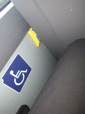 School, Bus, and School Bus: The positioning of the disabled button on my school bus.