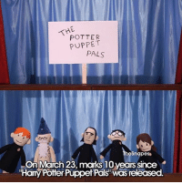 """Memes, 🤖, and Potter: THE  POTTER  PUPPET  PALS  hesnapes  On March 23, marks 10 years since  """"Hamy Potter Puppet Paksi Was released. I'm a day late but 😍😍😍 Credits to @thesnapes harrypotter hp hogwarts jkrowling"""