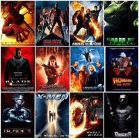 THE ORIGINAL MARVEL CINEMATIC UNIVERSE…Along with Sony and Fox. Do you little MCU Fans not remember the OG Marvel Films ? 😂👍🏽 - 1. SpiderMan 2. SpiderMan2 3. SpiderMan3 4. Blade 5. Blade2 and BladeTrinity 6. DareDevil 7. Elektra 8. Hulk 9. FantasticFour 10. FantasticFourRiseofTheSilverSurfer 11. GhostRider 12. GhostRiderSpiritofVengance 13. ThePunisher 14. PunisherWarZone 15. XMEN 16. X2 : XMENUnited 17. XMENTheLastStand 18. ManThing - - So Comment Below if you Grew up with Te Original MarvelCinematicUniverse and which Movie was your Favorite ! 💥: The power an innortal.  WE  SNI PES  EBEL A D DE  TEPIHEN DORE F  BLADE  BENAFFLELK JENNIFER GARNER  C. MARVEL. UNIT  FANTASTIE FOUR  GHD T  ARIDER  Trapped inaworld he never made.  HOWARD  THE DUCK  More adventure than humanly possible.  RNICHER THE ORIGINAL MARVEL CINEMATIC UNIVERSE…Along with Sony and Fox. Do you little MCU Fans not remember the OG Marvel Films ? 😂👍🏽 - 1. SpiderMan 2. SpiderMan2 3. SpiderMan3 4. Blade 5. Blade2 and BladeTrinity 6. DareDevil 7. Elektra 8. Hulk 9. FantasticFour 10. FantasticFourRiseofTheSilverSurfer 11. GhostRider 12. GhostRiderSpiritofVengance 13. ThePunisher 14. PunisherWarZone 15. XMEN 16. X2 : XMENUnited 17. XMENTheLastStand 18. ManThing - - So Comment Below if you Grew up with Te Original MarvelCinematicUniverse and which Movie was your Favorite ! 💥