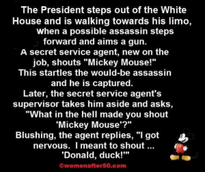 """White House, Duck, and House: The President steps out of the White  House and is walking towards his limo,  when a possible assassin steps  forward and aims a gun.  A secret service agent, new on the  job, shouts """"Mickey Mouse!""""  This startles the would-be assassin  and he is captured.  Later, the secret service agent's  supervisor takes him aside and asks,  """"What in the hell made you shout  'Mickey Mouse'?""""  Blushing, the agent replies, """"I got  nervous. I meant to shout  Donald, duck!""""  Owomenafter50.com Posted by my 70 year old great aunt"""