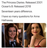 What products is she using: The Princess Diaries: Released 2001  Ocean's 8: Released 2018  Seventeen years difference.  I have so many questions for Anne  Hathaway. What products is she using