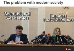 The problem of the modern society: The problem with modern society  Scientist and  Academics  PIVE  Dumb as  Fuck Celebrities  O reddit The problem of the modern society