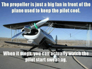 Tumblr, Blog, and Cool: The propeller is just a big fan in front of the  plane used to keep the pilot cool.  When it stops,you can actuallywatch the  pilot start sweating. srsfunny:Just A Big Fan