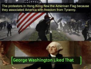 America: The protestors in Hong Kong flew the American Flag because  they associated America with freedom from Tyranny  George Washington Liked That America