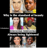 """Africa, Church, and Fam: THE PUBLIC  THE PRIVATE  FACE OF INDIA  FACE OF INDIA  Why is the standard of beauty  @chakabars  THE PUBLICEACEOFBRALL THEHIDDENFACEOFBRALIL  Always being lightened  THE PUBLIC FACE OF THE THE HIDDEN FACE OF THE  PHILIPPINES  PHILIPPINES Black is Beautiful. Bleaching cream disgusts me. The ideology that created it disgusts me. I didn't see any Europeans in DR Congo. (Not saying there aren't any) I have only seen beautiful dark skinned Africans. But I have seen bleaching products everywhere owned by European companies. In Europe I see tanning cream everywhere... They want Africans whiter and they want to be darker? I am confused? Like if you think all African countries should ban Bleaching products. No they aren't beneficial to the countries, most major European cooperations don't pay tax to Africa. Also the mindset was developed with colonial rhetoric, rape & control. The church & """"missionaries"""" told us whiteness is next to godliness. Now the media tells us that whiteness is pure & beauty's definition. Just look at every damn magazine. Even the major shopping centres are owned by European immigrants (they call themselves expats, I don't) guess what whole rows of bleaching products, beauty magazines with white people on & in or sisters with blonde hair, light skin, bleached skin or white foundation, then they retouch them to make them whiter. What the f*ck is wrong with these people? Just give it a rest. I heard all of this the lighter you are the less likely that you work outside & the whole classism thing. That is bullsh*t too. How about we just start petitions to get all of these bleaching products banned globally. It's f*cking Bleach... Bleach Fam, you go crazy if it gets on your clothes. If you drank it you would die. It's bleach. It is destroying organs. Your liver can't clean your blood of it, it causes cancer. You destroy your melanin. Just stop it. Dark skinned sisters you are so beautiful. Never bleach your hair or skin. You were b"""
