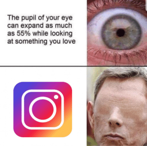 New format, get it while its hot.: The pupil of your eye  can expand as much  as 55% while looking  at something you love New format, get it while its hot.