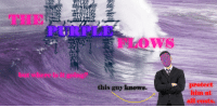 """Reddit, Purple, and Com: THE  PURPLE  FLOVS  but where is it going?  protect  him at  all costs.  this guy knows. <p>[<a href=""""https://www.reddit.com/r/surrealmemes/comments/7zi2dy/it_flows/"""">Src</a>]</p>"""