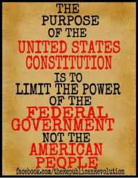 Memes, American, and Constitution: THE  PURPOSE  OF THE  UNITED STATES  CONSTITUTION  TO  LIMIT THE POWER  OF THE  FEDERAL  GOVERNMENT  NOT THE  AMERICAN  iaceb00k.com/theRepublicankevolution AMEN