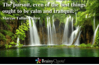 The pursuit, even of the best things, ought to be calm and tranquil. - Marcus Tullius Cicero: The pursuit, even of the best things  ought to be calm and tranquil.  Marcus Tulliu  cero  Brainy  Quote The pursuit, even of the best things, ought to be calm and tranquil. - Marcus Tullius Cicero