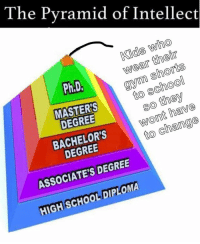 School, Kids, and Masters: The Pyramid of Intellect  Kids who  wear their  Ph.D  to school  so they  wont have  to change  MASTERS  DEGREE  BACHELOR'S  DEGREE  ASSOCIATE'S DEGREE  HIGHSCHOOL DIPLOMA