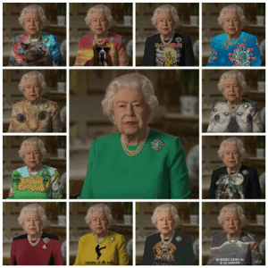 The queen's outfit used as a green screen: The queen's outfit used as a green screen