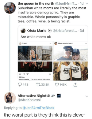 Blackpeopletwitter, Drunk, and Funny: the queen in the north @JenE4rmT... .1d  literally the most  Suburban white moms are  insufferable demographic. They  miserable. Whole personality is graphic  tees, coffee, wine, & being racist  are  Krista Marie @kristaforwal... 3d  Are white moms ok  b savy  blood.sweat.n.beers  DRUN  TTER  DrDrunk  Wives  Wives  Matter  Mabb  80 likes  sarahchandler  The drunk waives still matter  L133.8K  443  145K  Alternative Niglettë  @AfroKhalessi  Replying to @JenE4rmTheBlock  the worst part is they think this is clever Th Karens think they are so slick