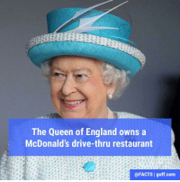 If you were the Queen, wouldn't you own a McDonald's too?: The Queen of England owns a  McDonald's drive-thru restaurant  @FACTS I guff com If you were the Queen, wouldn't you own a McDonald's too?