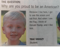 Donald Trump, Memes, and American: THE QUESTION:  Why are you proud to be an American?  Because I live here, I get  to see the ocean and  eat fruit. And when I see  the flag, I think of  Donald Trump, and I like  him.  TRAE SNO0ZY  Student M A S T E R R A C E