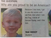 4chan, Donald Trump, and Memes: THE QUESTION:  Why are you proud to be an American?  Because I live here, I get  to see the ocean and  eat fruit. And when I see  the flag, I think of  Donald Trump, and I like  him.  TRAE SN00Z  Student ____________________________________________ Follow my personal account @noahdovb (Photography, music, and shit) ___________________________________________ eataburger filthyfrank edgymemes triggered offensivecontent papafranku dankmemes edgy4days kidzbop ayylmao offensive cringe 4chan edgybullshit fantasticfuckers injectedmemes memecucks edgy filthyfrank