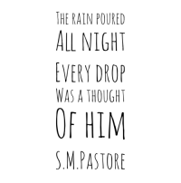 Rain, Thought, and Him: THE RAIN POURED  ALL NIGHT  EVERY DROP  WAS A THOUGHT  OF HIM  S.M.PASTORE