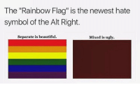 "<p>Hate symbol</p>: The ""Rainbow Flag"" is the newest hate  symbol of the Alt Right.  Separate is beautiful  Mixed is ugly. <p>Hate symbol</p>"