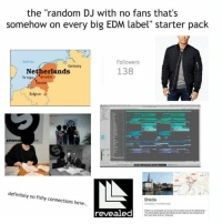 "LOL: the ""random DJ with no fans that's  somehow on every big EDM label"" starter pack  North Sea  Followers  Germany  138  Netherlands  The Hague Angerdam  Belgium  SPINNI  definitely no fishy connections here  Breda  revealed LOL"