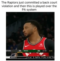 Basketball, Nba, and Savage: The Raptors just committed a back court  violation and then this is played over the  PA system  25 BUCKs  015  APTORS  26 1st Qtr 2:23  NUGGETS  4 stl  G. Harris: 17 pts, 6 reb, 5 a (Tap for Sound) They savage for this 😂 Via @world_wide_wob
