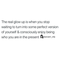 Funny, Memes, and The Real: The real glow up is when you stop  waiting to turn into some perfect version  of yourself & consciously enjoy being  who you are in the present esarcasm only SarcasmOnly