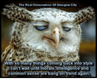 Glasgow: The Real Hoosewives of Glasgow City  With so many things coming back into style  l can't wait until morals, intelligence and  common sense are bang on trend again