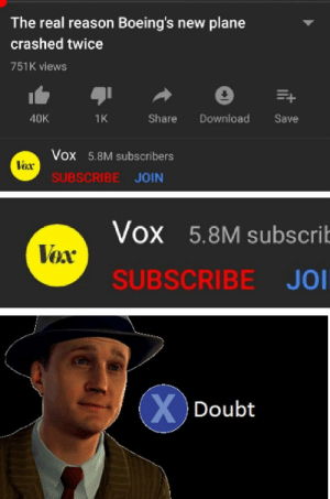 The Real, Doubt, and Reason: The real reason Boeing's new plane  crashed twice  751K views  Share Download Sav  40K  1K  Vox 5.8M subscribers  lox  SUBSCRIBE JOIN  VOx 5.8M subscrib  Vox  SUBSCRIBE JO  Doubt Their credibility is questionable.