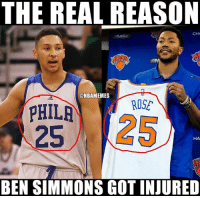 Everything about Derrick Rose is a curse!! 😂😭 JustAJoke: THE REAL REASON  CHA  ONBAMEMES  ROSE  PHILA  HA  BEN SIMMONS GOT INJURED Everything about Derrick Rose is a curse!! 😂😭 JustAJoke