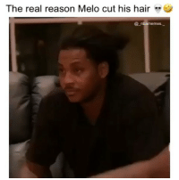 Memes, Nba, and Lost: The real reason Melo cut his hair  @ nbamemes He lost a game of NBA Live and ended up cutting his hair 👀😂🔥 - Follow @_nbamemes._