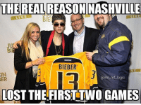 Logic, Memes, and National Hockey League (NHL): THE REAL  REASON NASHVILLE  LIVE  LIVE  BIEE  BIEBER  IN  @nhl ref logic  ER  LOST THE FIRST TWO GAMES What happens if Bieber curses every NHL team? Do we just go straight into a league wide lock out?
