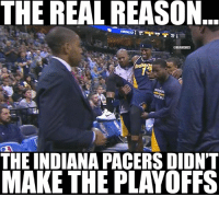 Get well soon, Paul George. Credit: Leonrey Napala  #Pacers Nation: THE REAL REASON  NBAMEMES  THE INDIANA PACERS DIDNT  MAKE THE PLAYOFFS Get well soon, Paul George. Credit: Leonrey Napala  #Pacers Nation