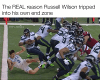 Dammit Grayson: The REAL reason Russell Wilson tripped  into his own end zone  @NFL MEMES Dammit Grayson