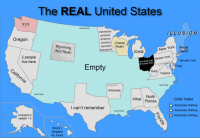 updated geography: The REAL United States  77?  North Empty  LLUSION  Oregon  mmmm Cheese  mmmm Realm  Wyoming  (Not Real)  New York Rhode  Island  lowa  2 people  live here  Newer York  Newest York  The Great Void  (Formerly Ohio)  Empty  raig  West/ Virginia  East Empty  Arkansas  West Empty  North  What Florida  Color Index  -Absolutely Nothing  -Absolutely Nothing  l can't remember  South Empty  H-Absolutely Nothing  Included in  update 1.5  Shoot I  dropped  my rocks updated geography