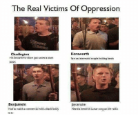 Casted: The Real Victims Of Oppressiorn  Kensworth  Chadington  His favourite tv show just casted a black  actor  Saw an interracial couple holding hands  Benjamein  Had to watch a commercial with a black family  in it  Jayonnaise  Heard a kendrick Lamar song on the radio