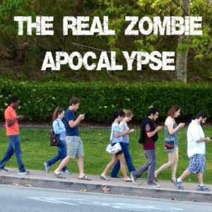 Bad, Friends, and Pretentious: THE REAL ZOMBE  APOCALYPSE definitelynotsatan:   seerofsarcasm:  oliviatheelf:  The saddest thing is that most people will find this humorous instead of serious. We're standing right beside one another, and yet we text others instead of actually speaking to each other. Have you ever sat down and thought about how uncomfortable we now are around one another that it's so bad that we literally pretend to be texting someone when we're not, just so it's less awkward to stand beside people? What's supposed to strengthen our bonds has taken away from it. It's time to take our faces out of our phones and notice the world, give a kind gesture to someone, and go SEE your friends instead of just texting them. I'm going to let that sink in.  Ah yes let me just up and leave school right in between my classes so I can go see the friend 40 miles away that i'm currently texting instead of making idle chit chat with the people around me that I don't particularly care for.Fuck your pretentious shit.   whines evil technology is making people antisocial its not real communication if its not face to face and im a pretentious self righteous shitbaby that asks random people on the street for the time and feels good about it