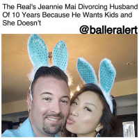 """Children, Definitely, and Future: The Real's Jeannie Mai Divorcing Husband  Of 10 Years Because He Wants Kids and  She Doesn't  @balleralert The Real's Jeannie Mai Divorcing Husband Of 10 Years Because He Wants Kids and She Doesn't - blogged by @baetoven_ ⠀⠀⠀⠀⠀⠀⠀ ⠀⠀⠀⠀⠀⠀⠀ """" TheReal"""" cohost JeannieMai is divorcing her husband, FreddyHarteis, after 10 years of marriage. ⠀⠀⠀⠀⠀⠀⠀ ⠀⠀⠀⠀⠀⠀⠀ Mai previously opened up about their opposing views on having children and revealed she was uncertain about their future on an episode that aired in 2014. ⠀⠀⠀⠀⠀⠀⠀ ⠀⠀⠀⠀⠀⠀⠀ """"You know how much I love Freddie, my husband. He's my life,"""" she said in tears. """"Before we got married, I was very clear about the fact that I probably would not have kids, just because I've never felt that. And now, getting older, he definitely seems like he wants kids, and he actually came out and said that he wants children."""" ⠀⠀⠀⠀⠀⠀⠀ ⠀⠀⠀⠀⠀⠀⠀ She continued, """"I guess it's just really hard because I can't just have a child for another person, and you don't have a child to save your marriage, but we are in love, and we are enjoying life, and he's my Freddy, and I'm his Jeannie, and we don't have any other problems except that, which, you never know what could happen in the future."""" ⠀⠀⠀⠀⠀⠀⠀ ⠀⠀⠀⠀⠀⠀⠀ The couple wed in 2007 and just celebrated their 10th anniversary in August."""