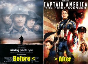 The reason Captain America: The First Avenger (2011) doesn't have an Omaha beach at Normandy invasion scene is because it already happened in Saving Private Ryan (1998). Saving Private Ryan, of course, takes place much earlier in the Marvel Cinematic Universe timeline.: The reason Captain America: The First Avenger (2011) doesn't have an Omaha beach at Normandy invasion scene is because it already happened in Saving Private Ryan (1998). Saving Private Ryan, of course, takes place much earlier in the Marvel Cinematic Universe timeline.