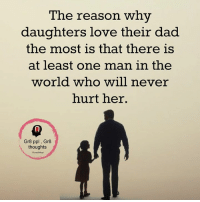Memes, 🤖, and Daughter: The reason why  daughters love their dad  the most is that there is  at least one man in the  world who will never  hurt her.  Gr8 ppl Gr8  thoughts Mesmerizing Quotes