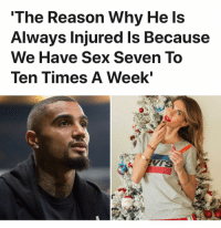 Memes, Sex, and Reason: The Reason Why He Is  Always Injured Is Because  We Have Sex Seven To  Ten Times A Week' Melissa Satta on Kevin Boateng's injury issues 🤣