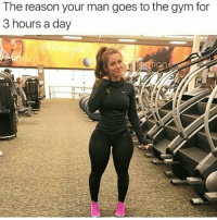 That's the reason ladies 😂: The reason your man goes to the gym for  3 hours a day That's the reason ladies 😂