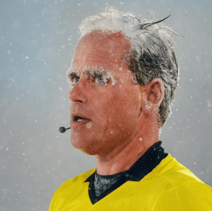 The ref's eyebrows literally froze at the coldest game in MLS history 😳  (via ColoradoRapids, Btyphoto): The ref's eyebrows literally froze at the coldest game in MLS history 😳  (via ColoradoRapids, Btyphoto)