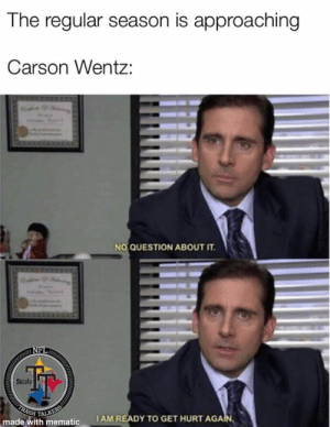 Memes, Nfl, and Trash: The regular season is approaching  Carson Wentz:  NO QUESTION ABOUT IT.  NFL  Sleele  TRASH  TALKERS  made with mematic  IAM READY TO GET HURT AGAIN 🐸🍵  #BadJuJu